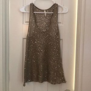 WILLOW AND CLAY: brown sequin racerback